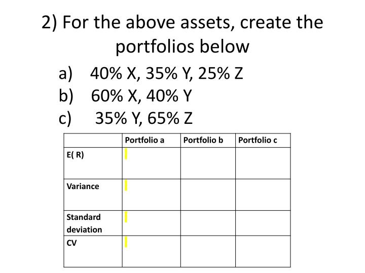 2) For the above assets, create the portfolios below