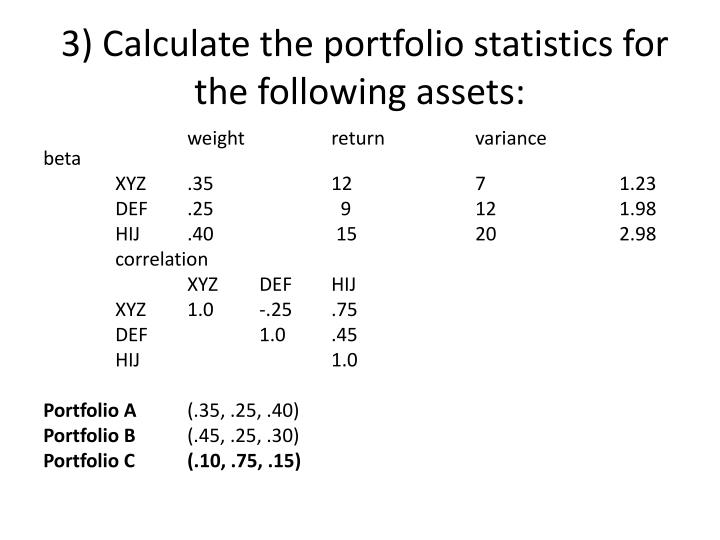 3) Calculate the portfolio statistics for the following assets: