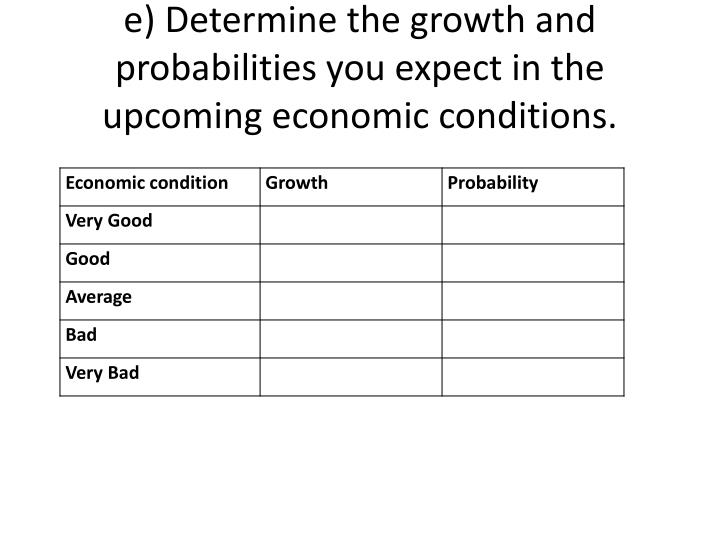 e) Determine the growth and probabilities you expect in the upcoming economic conditions.
