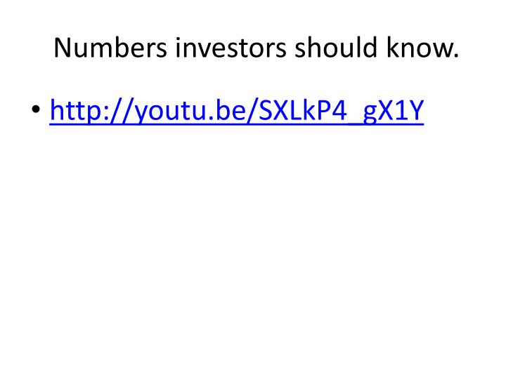 Numbers investors should know.