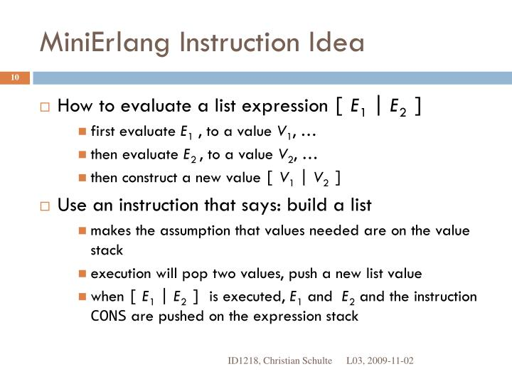 MiniErlang Instruction Idea