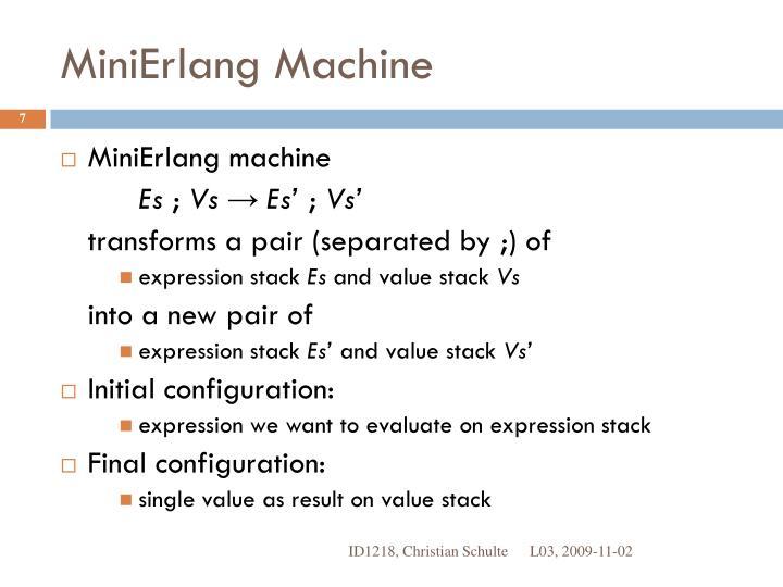 MiniErlang Machine