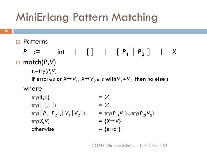 MiniErlang Pattern Matching