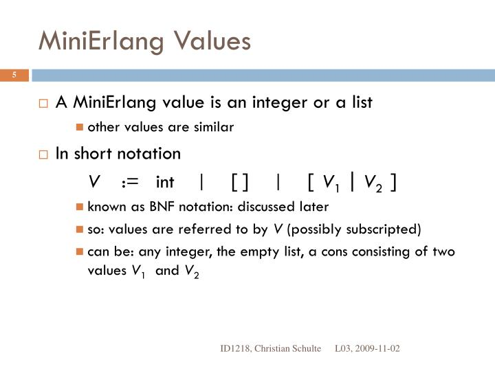 MiniErlang Values