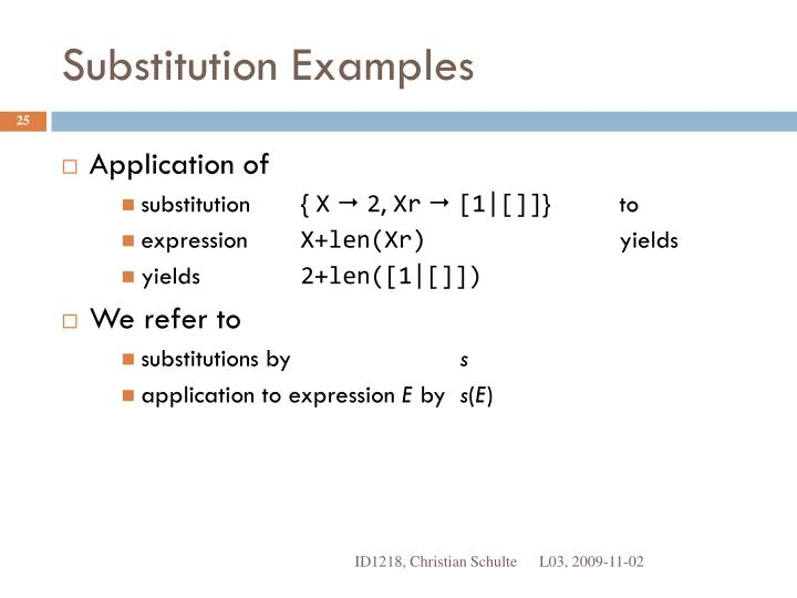 Substitution Examples