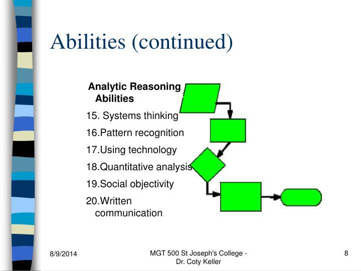 Analytic Reasoning Abilities