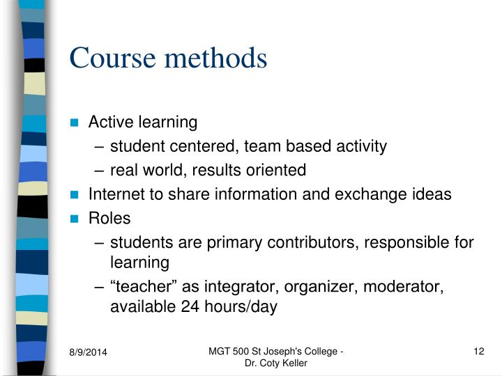 Course methods