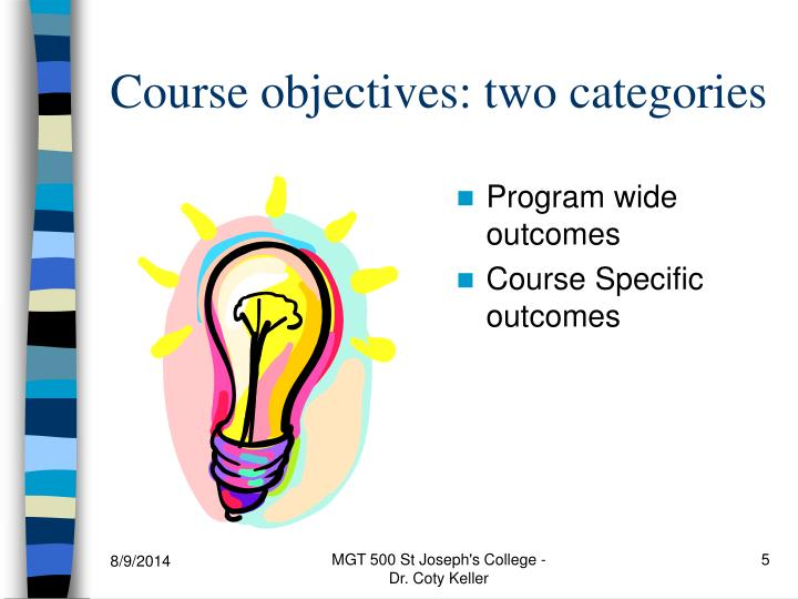 Course objectives: two categories