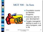 mgt 500 in sum