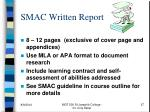 smac written report