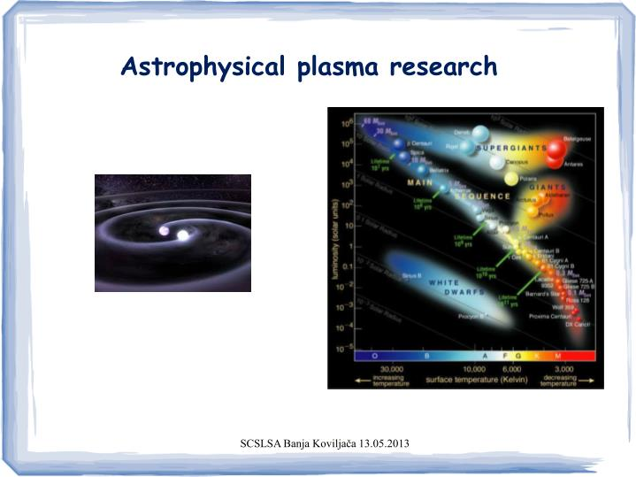 Astrophysical plasma research