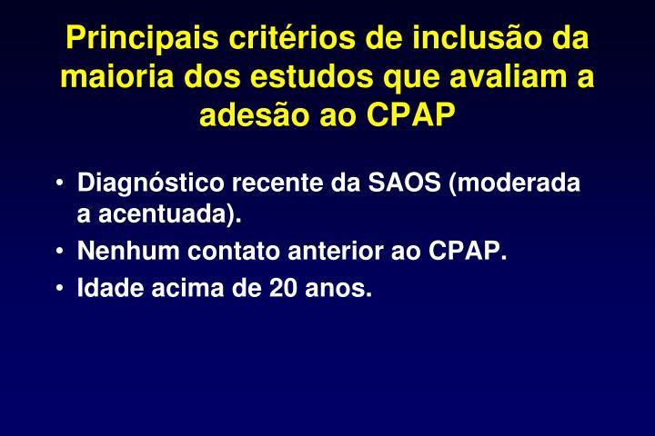 Principais critérios de inclusão