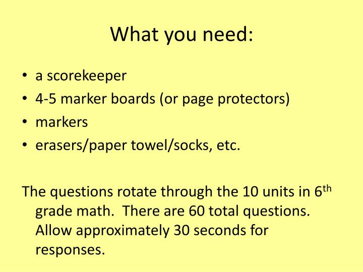 What you need: