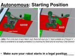 autonomous starting position
