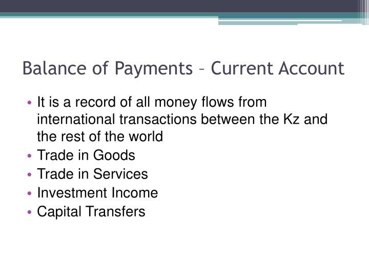 Balance of Payments – Current Account