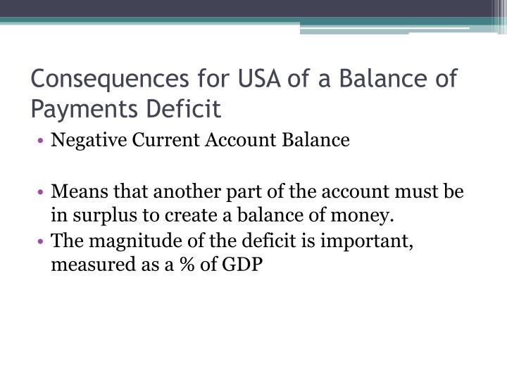 Consequences for USA of a Balance of Payments Deficit