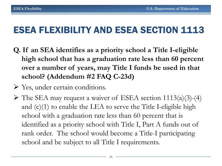ESEA Flexibility and ESEA section 1113