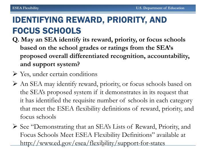 Identifying Reward, Priority, and focus Schools