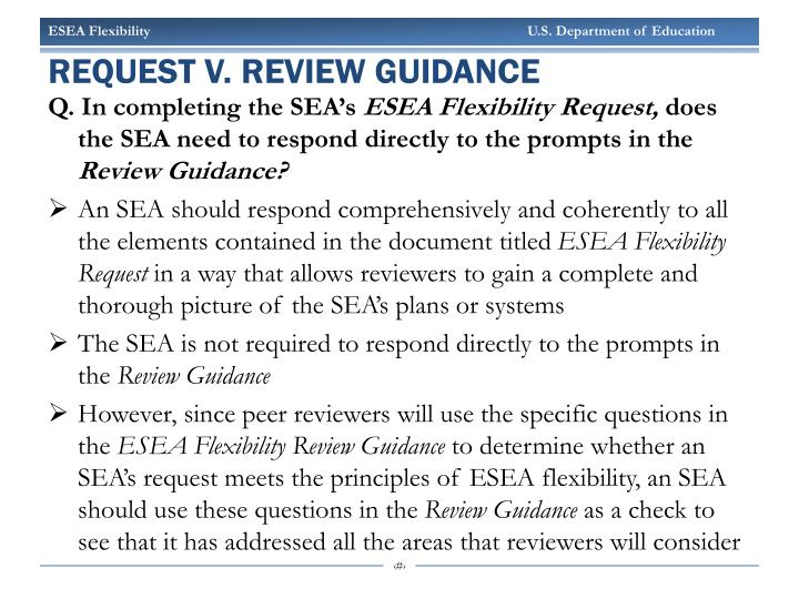 Request v. review guidance