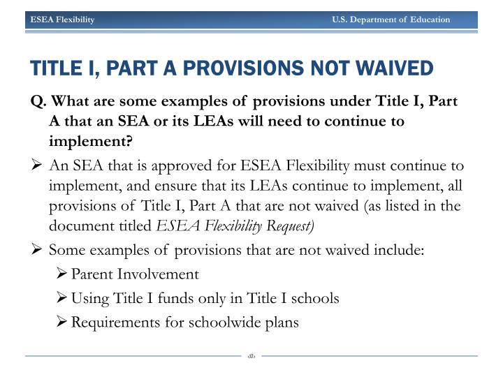 Title I, Part A Provisions Not Waived