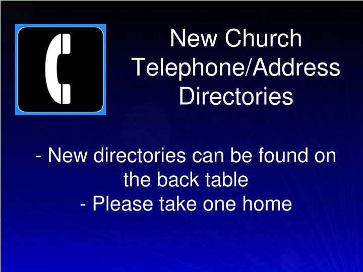 New Church Telephone/Address Directories