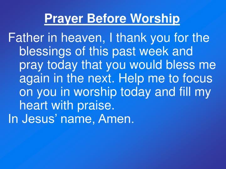 Prayer Before Worship