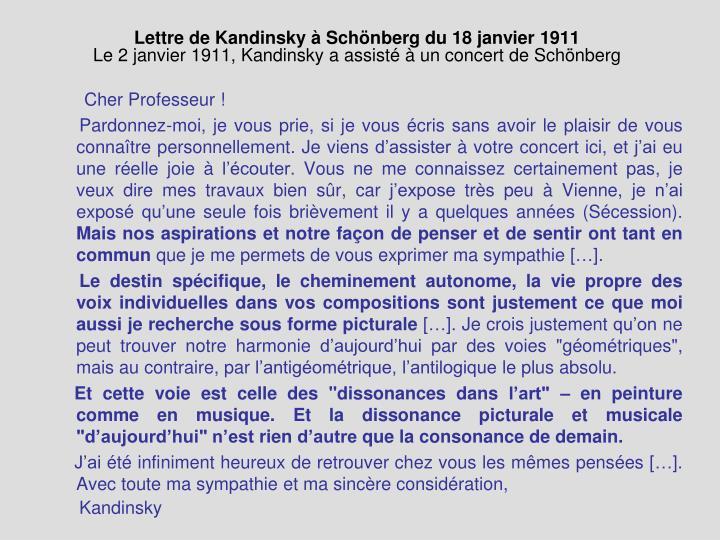 Lettre de Kandinsky à Sch