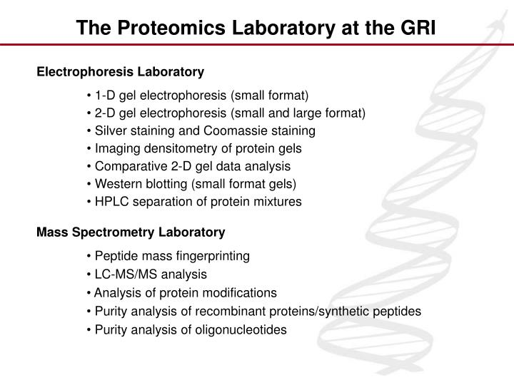 The Proteomics Laboratory at the GRI