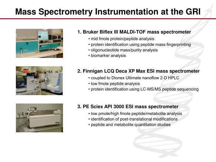 1. Bruker Biflex III MALDI-TOF mass spectrometer