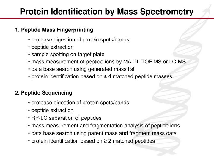Protein Identification by Mass Spectrometry