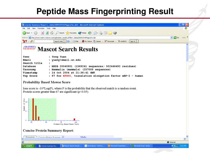 Peptide Mass Fingerprinting Result