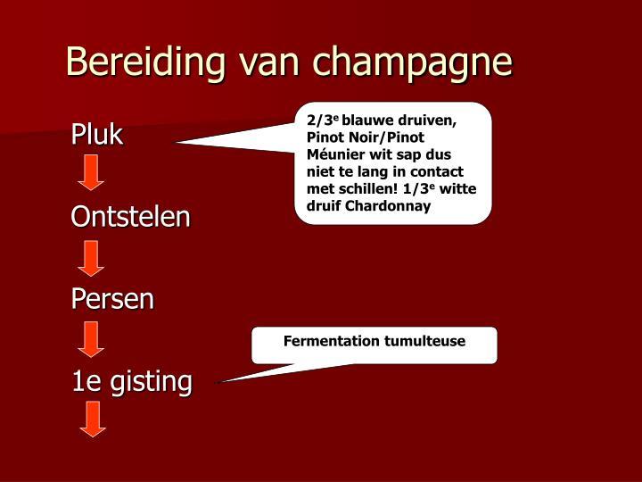Bereiding van champagne