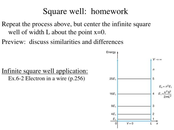 Square well:  homework