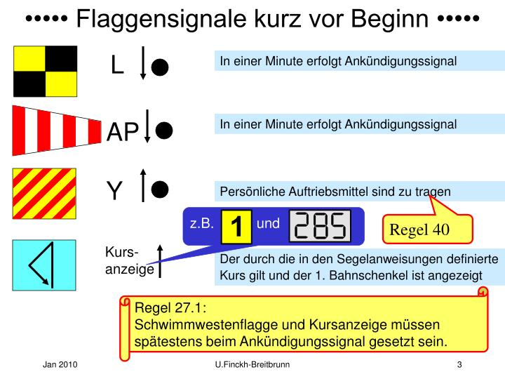 ••••• Flaggensignale kurz vor Beginn •••••