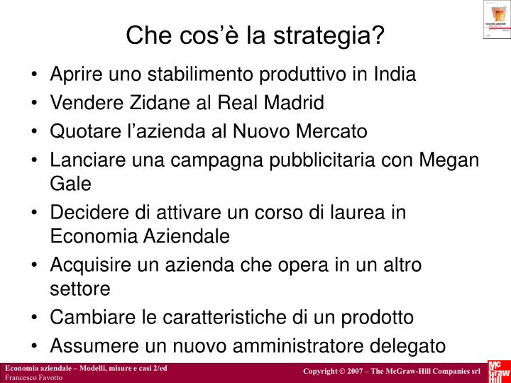 Che cos'è la strategia?