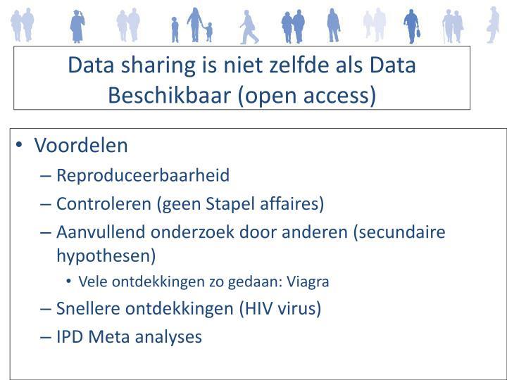 Data sharing is niet zelfde als Data Beschikbaar (open access)