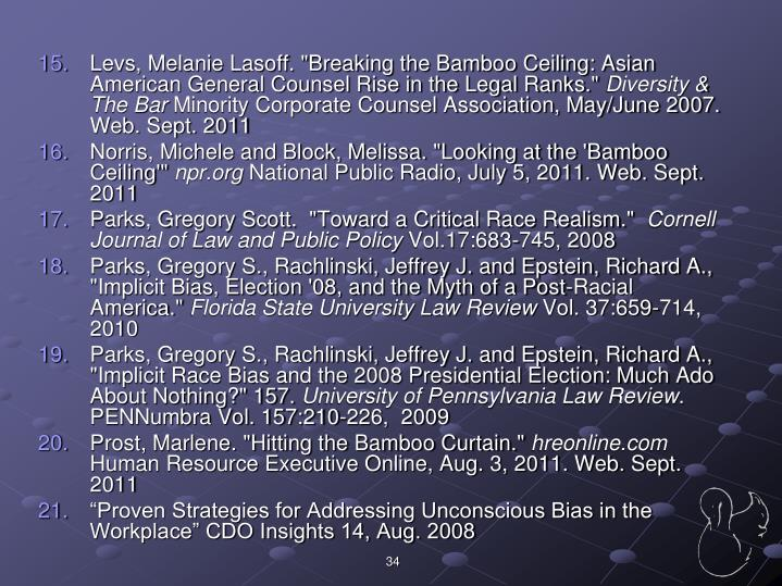 "Levs, Melanie Lasoff. ""Breaking the Bamboo Ceiling: Asian American General Counsel Rise in the Legal Ranks."""
