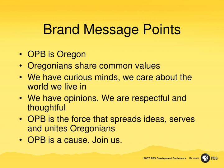 Brand Message Points