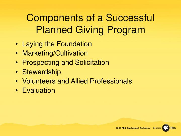 Components of a Successful Planned Giving Program
