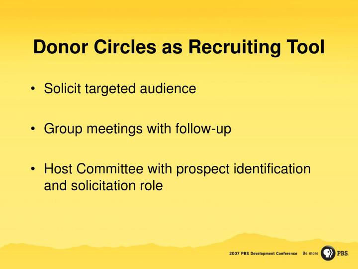 Donor Circles as Recruiting Tool
