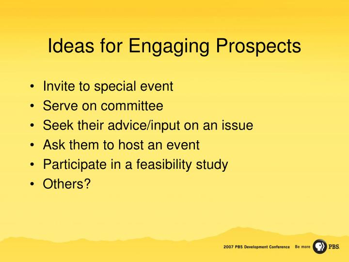 Ideas for Engaging Prospects