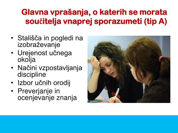 Glavna vprašanja, o katerih se morata součitelja vnaprej sporazumeti (tip A)