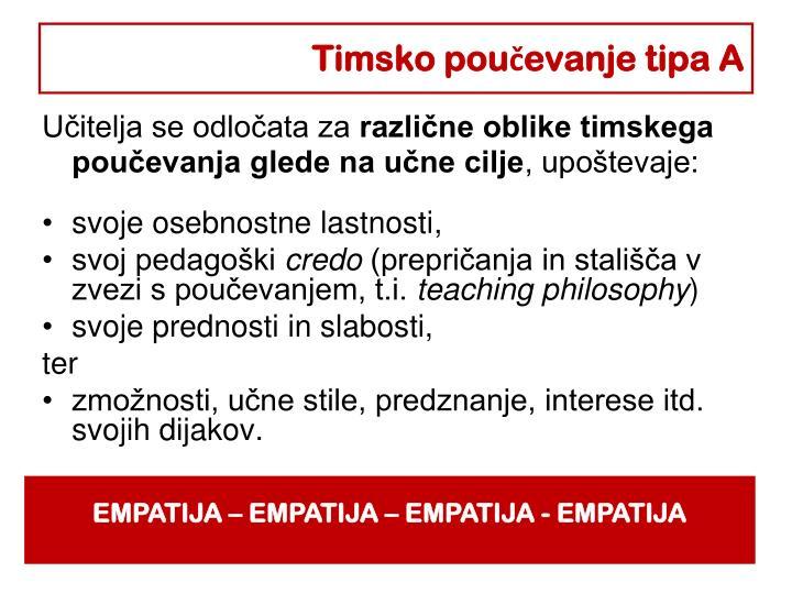 Timsko poučevanje tipa A