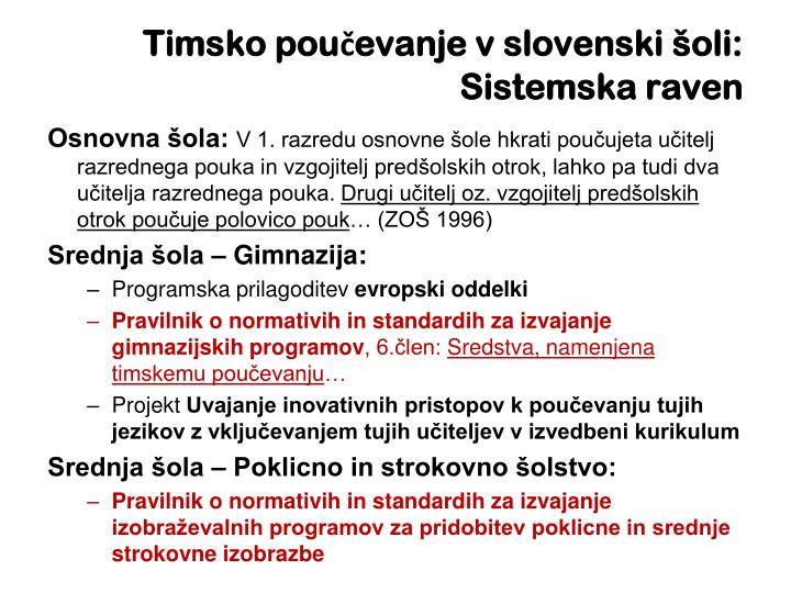 Timsko poučevanje v slovenski šoli: Sistemska raven