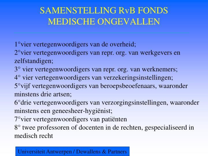 SAMENSTELLING RvB FONDS MEDISCHE ONGEVALLEN