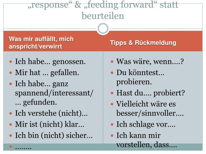 """response"" & ""feeding forward"" statt beurteilen"