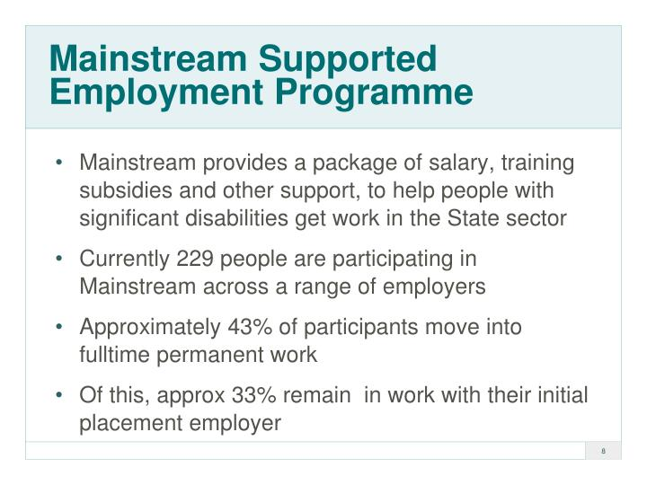 Mainstream Supported Employment Programme