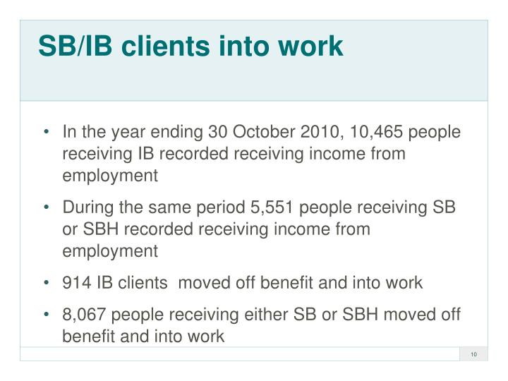 SB/IB clients into work