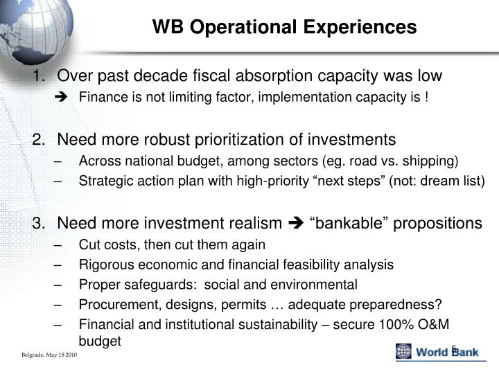 WB Operational Experiences