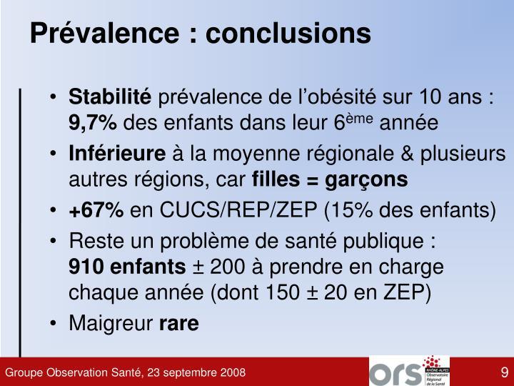 Prévalence : conclusions